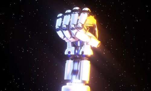 Illustration of a raised, clenched robotic fist.